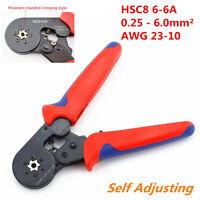 1x Self Adjusting Ratcheting Ferrule Crimper Plier HSC8 6-6A 0.25-6mm² AWG 23-10