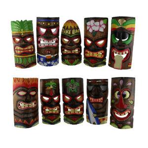 Hand Carved Wood Art Polynesian Party Hawaiian Tiki Masks 10 Piece Set 10 Inch