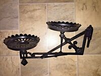 VTG Art Deco Cast Iron Double Kerosene/Oil Lamp Holder