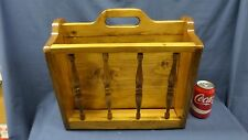 2041M Vtg Wood Magazine Rack 2 Compartment 15x10x14 Tall Mid Century Gc