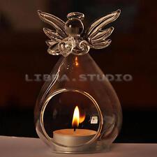 Stylish Clear Glass Angel Hanging Candle Tea Light Holder Candlesticks Bar Decor