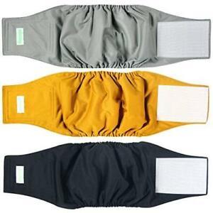 wegreeco Washable Male Dog Belly Wrap - Pack of 3 - (Gold,Black,Grey,Medium)