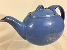 Hall USA Pottery 6 Cup Teapot 0749 Vintage Cadet Blue Gold Hook Lid 1940s