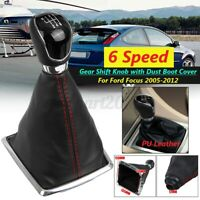 6 Speed Gear Shift Knob Lever Stick W/ Dust Boot Cover For Ford Focus