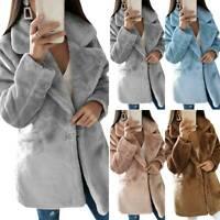 Women's Casual Winter Warm Fleece Woolen Baggy Overcoat Waistcoat Jackets Coat