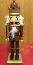 Hand Painted Wooden Nutcracker Soldier Traditional Christmas ~ Brown Crown 4067