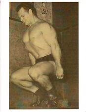 bodybuilder JOHN GRIMEK Doing Hack Squats Bodybuilding Muscle Photo B+W