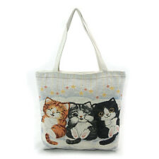NEW WOVEN BLACK,ORANGE PLAYFUL 3 KITTEN,CATS FABRIC,STARS,ZIP,TOTE,SHOULDER BAG