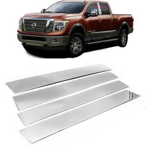 For 2016-2021 Nissan Titan Crew Cab Stainless Steel Chrome Window Pillar Post