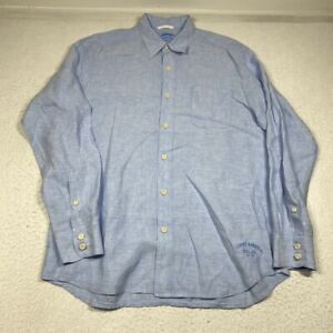 Tommy Bahama Relax 100% Linen Mens Large Blue Button Up Long Sleeve