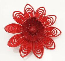 Vintage Celluloid Brooch Pin Red Flower Costume Jewellery Retro 40s 50s Jewelry