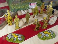 Lot of 9 Marx Soldiers of Fortune Infantry Artillery Cavalry Tin Litho Toys!!!
