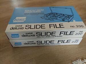 "Lot 2 Logan Metal Deluxe Slide File Box #200 For 2""x2"" 35mm Slides Holds 750 375"