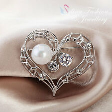 18K White Gold Plated Simulated Pearl & CZ Heart Brooch Fashion Jewellery