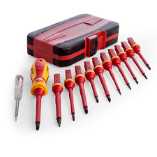 SEALEY 12PC  ELECTRICAL TESTER VDE APPROVED MAGNETIC TIP SCREW DRIVER AK6129