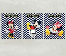 Minnie and Mickey Mouse Wash Brush Flush Posters for Bathroom in Navy Chevron
