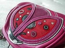 NEW COACH LADYBUG APPLIQUE KISSLOCK FRAMED PINK LEATHER HANDBAG PURSE BAG RARE!