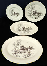 Set of 4 Lenox Special Stagecoach serving plates & platters gold trimmed USA