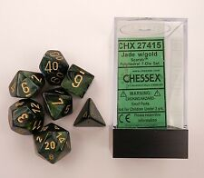 Chessex 7 Dice Set Scarab Jade w Gold CHX 27415 for D&D & D20