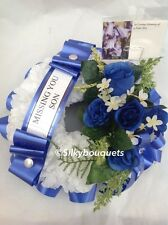Artificial Silk Funeral Flower Wreath Ring Tribute Rose Memorial Fathers Day