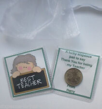 PERSONALISED THANK YOU TEACHER GIFT - LUCKY SIXPENCE with WHITE ORGANZA BAG