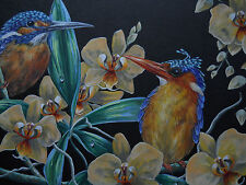 Kingfisher exotic bird Phalaenopsis Orchid painting