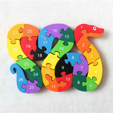 26pcs Wooden Alphabet Puzzle Snake Jigsaw Number Block Kids Educational Toys