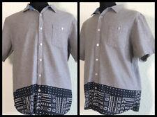 Modern Amusement Short Sleeve Button Down Shirt Large Gray/Black/White