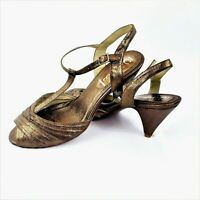 Jeffrey Campbell Bronze Sandals Womens Size 10 Heels Ankle Strap Metallic Brown