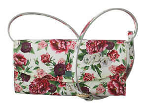 DOLCE & GABBANA Bag Purse Clutch Floral Roses Leather Cross Body Borse RRP $1000