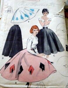 LOVELY VTG 1950s SKIRT BUTTERICK Sewing Pattern WAIST 32
