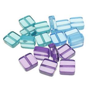 Italian Acrylic Flat Square Beads; Size 12mm (6pcs) Teal/Blue/Purple UK Stock
