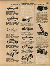 1961 ADVERT 8 PG Hubley Toy Car Truck Metropolitan Tractor Tow Loader Ford Bus