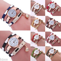 Fashion Women Rhinestone Bracelet Watch Wrap Around Leather Quartz Wrist Watches