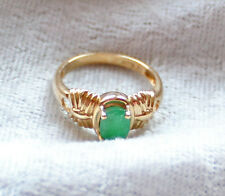 14K Yellow Ribbed Gold Ring with oval Emerald Stone--Size 6--Excellent Condition