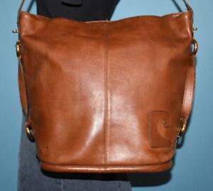 VTG PIERRE CARDIN Brown Leather Hobo Bucket Shoulder Carry-all Large Purse Bag