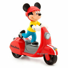 NEW Disney Store Talking Retro Style Mickey Mouse RED Toy Wind-Up Scooter Car