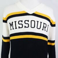 VTG MISSOURI SPELL OUT MIZZOU TIGERS V-NECK PULLOVER CHEER SWEATER SIZE 40 USA