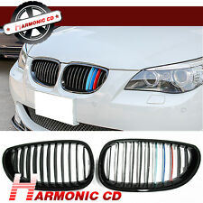 Fits BMW 04-10 E60 E61 520i 528i 535i 550i M5 Shiny Black Tri Front Grille Grill