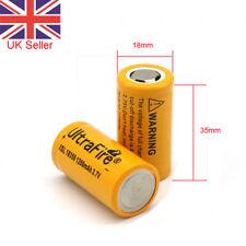 2x 1200mAh 18350 Battery 3.7V Li-ion Rechargeable Unprotected Flat Top UK SELL