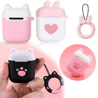 Silicone Case Cover Earphones Pouch Protective Skin Cute Cat For Apple AirPods ~