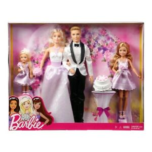 Barbie Wedding Gift Set Includes Bride Groom & Two Bridesmaids With Accessories