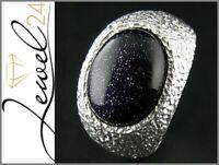 Damen Solitär Ring echt Silber 925 Sterling mit Blaufluss Cabochon groß Damenrin