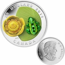 2014 Canada $20 Silver Coin - Water-Lily and Leopard Frog