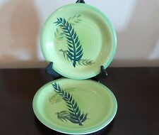 Mulberry Home Collection Green Swirl Fern Dinner Plates x2