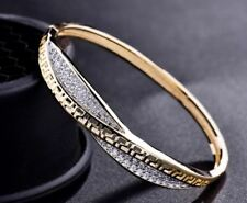 NEW WOMEN'S GREEK KEY YELLOW GOLD CUBIC ZIRCONIA CZ RHINESTONE BRACELET BANGLE