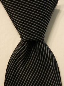 VITALIANO PANCALDI Vintage Silk Necktie ITALY Luxury STRIPE Black/Gray Short EUC
