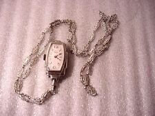 A. Burger Lucerne 15 Jewels Pendant Watch w Jadeite Stone & Macasites w Necklace