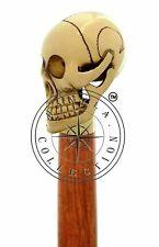 Antique Walking Cane Wooden Walking Stick Silver Brass Handle Knob Vintage Gift