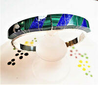 Vintage Taxco Mexico 925 Silver Bangle Bracelet Malachite Blue LAPIS Hinge B151